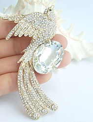 Women Accessories Gold-tone Clear Rhinestone Crystal Phoenix Brooch Art Deco Crystal Brooch