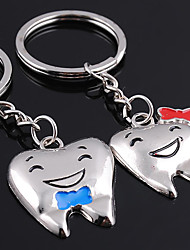 2pcs Set Smile Teeth Key Chain Stainless Steel Key Ring Organizer Ornaments Gift Kid Lover