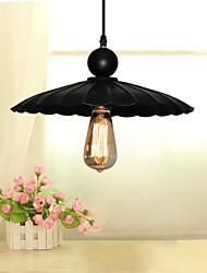 Medium Vintage Black Umbrella Metal Pendant With One Light