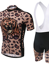 Leopard Unisex Short Sleeve Spring/Summer Cycling Suits Bib Shorts Breathable/Quick Dry/Anti-skidding/3D Pad/Wicking