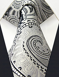 Men's Tie  Paisley Gray 100% Silk Business