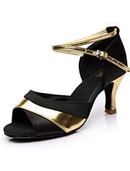 Women's Dance Shoes Latin/Salsa Satin Heel Red/Silver/Gold Customizable