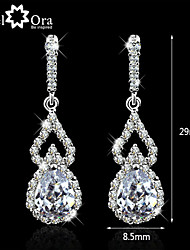 Wedding Lady Earrings Vivid CZ Stone Rhodium Plated Jewelry Sparkling Lady Drop Earrings For Women