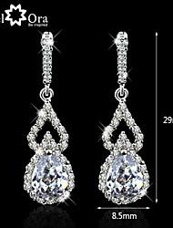 Wedding Lady Earrings Vivid CZ Stone Rhodium Plated Jewelry Sparkling Lady Drop Earrings For Women