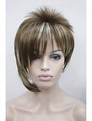 асимметричные светло-коричневый блондин смесь наклонные челка короткий прямой синтетические волосы женщин парик