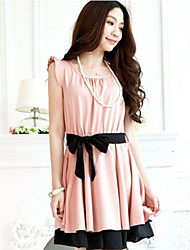 Women's Casual/Cute Round Sleeveless Dresses (Polyester)
