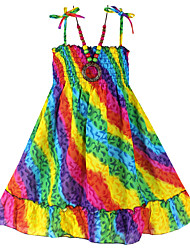 Girl's Dresses + Necklace Rainbow Bohemia Beach Dress  Smocked Children Clothing