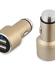 Luxury Gold Alloy 2-USB Car Cigarette Lighter Power Adapter for Smartphones and Tabs