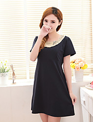 Maternity Fashion Cording Round Collar Breast-feeding Dress