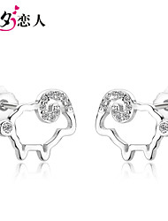 This Animal Year Zodiac Lamb 925 Sterling Silver Jewelry Earrings Korean Female Lucky Small Adorable Sheep Earrings