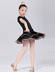 Latin Dance Performance Outfits Children's Training Polyester Outfit Red/Black Kids Dance Costumes