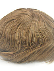 Stock Mens Toupee Hair Replacement Swiss Lace #6 Light Brown 100% Human Hair Hairpiece Size Adjustable