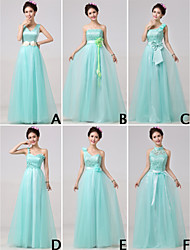 Floor-length Bridesmaid Dress A-line One Shoulder/Strapless/High Neck/V-neck