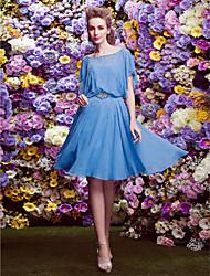 Heimkehr ts-Couture-Cocktailpartykleid - ocean blue a-line Scalloped knielangen Chiffon