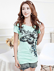 Women's Bodycon/Casual/Print Stretchy Short Sleeve Regular T-shirt (Cotton)