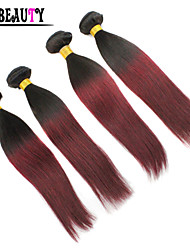 "4Pcs/Lot 10""-26"" Ombre Human Hair Extensions T1B/Burgundy Two Tone Color Brazilian Virgin Hair Straight Hair Bundles"