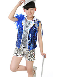 Jazz Performance Outfits Children's Performance/Training Polyester Sequins Outfit Blue/Red Kids Dance Costumes