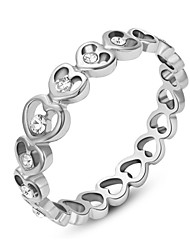 T&C Women's 18K White Gold Plated Clear Shining Austria Crystal Sweet Heart Finger Ring
