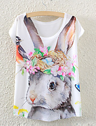 Women's Short Sleeve Floral Rabbit Graphic Printed T Shirt