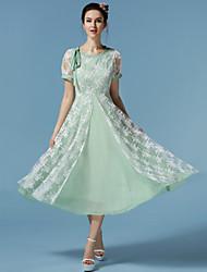 Women's Vintage/Print/Maxi Micro-elastic Embroidery Elegant Short Sleeve Maxi Dress (Mesh/Polyester)