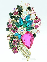 Rhinestone Drop Flower Brooch Broach Pins Women's Jewelry (More Colors)