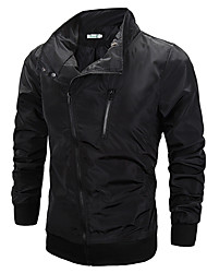 Men's Long Sleeve Jacket , Cotton/Polyester Casual/Sport Pure