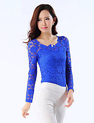 Women's Bodycon/Lace Round Long Sleeve Tops & Blouses (Lace/Polyester)