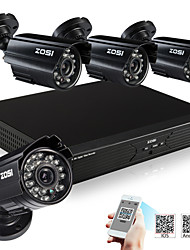 ZOSI® 700TVL 4CH 960H H.264 DVR Kits 4x CMOS IR Cut Day Night outdoor Indoor CCTV Camera Security Surveillance System