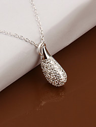 Fashion Drop Shape Silver Plated Simple Foreign Trade Rolo Silver Pendant Necklace(White)(1Pc)