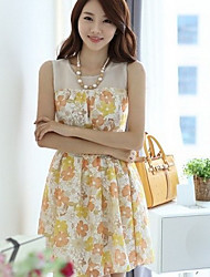 Women's Yellow Dress , Casual Sleeveless