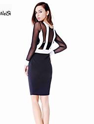 sml xl xxl plus size nieuwe mode vrouwen lange mouw zwart en wit patchwork bodycon jurk sexy avond feestjurk