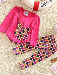 Girl's Cotton/Polyester Leisure Big Dot Long Sleeve Clothing Set