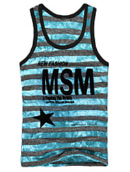 Men's Sleeveless Vest , Cotton Casual Print/Striped