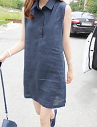 De las mujeres Recto Vestido Casual Un Color Sobre la rodilla Cuello Camisero Lino