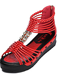 Women's Shoes Leatherette Wedge Heel Wedges Sandals Dress Black/Red