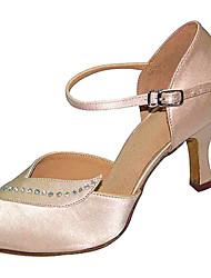 Women's Dance Shoes Latin Satin Flared Heel Black/Other