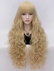 80cm Long Flat Bang Full Blonde Curly heat resist Synthetic Cosplay Hair Party Wig