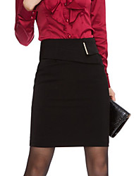 Women's Solid Red/Black/Yellow Skirts , Sexy/Bodycon/Work Above Knee