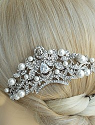 Wedding Silver-tone Pearl Rhinestone Crystal Crown Flower Hair Comb Bridal Headpiece Wedding Hair Comb