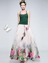 Women's Casual Print Maxi Inelastic Medium Maxi Skirts (Chiffon)