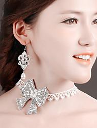 Bride Wedding White Bow  Diamond Noble Flower Earring Necklace Set