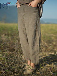 Xianran® Women's Casual/Plus Sizes Inelastic Medium Loose Sagging Pants S-XXL (Linen)