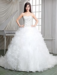 Princess Wedding Dress Sparkle & Shine Cathedral Train Strapless Lace Satin Tulle Knit with Appliques Beading Cascading Ruffle