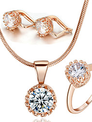T&C Women's Classic Crown Style 18k Rose Gold Plated Swiss Cubic Zircon Stone Pendant Necklace Earrings Ring Set