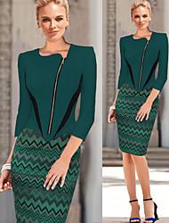 Sha.Mei Women's Bodycon/Casual/Party Asymmetrical ½ Length Sleeve Dresses (Cotton Blend/Polyester)