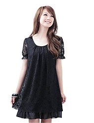 Women's Lace/Party Summer Hollow Lace Short Sleeve Loose Party Dress (Chiffon/Lace/Cotton Blends)
