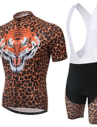 WEST BIKING® Men's Mountain Bike Clothing Bib Suit Breathable Tiger Pattern Wicking Cycling Clothing Bib Short Suit