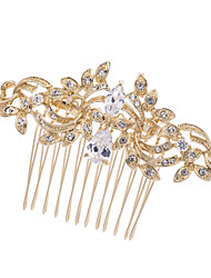 8.5cm Gold Nobby Hair Comb Tiara Headpieces Wedding Bridal Jewelry for Party