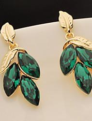 Flash Green Leaves  Gem Earrings