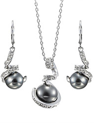 T&C Women's Noble Black Pearl Jewelry Sets 18K White Gold Plated Austria Crystal Waterdrop Pendant Necklace Earrings Set